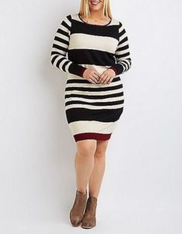Amazing plus size striped dress outfits ideas 91