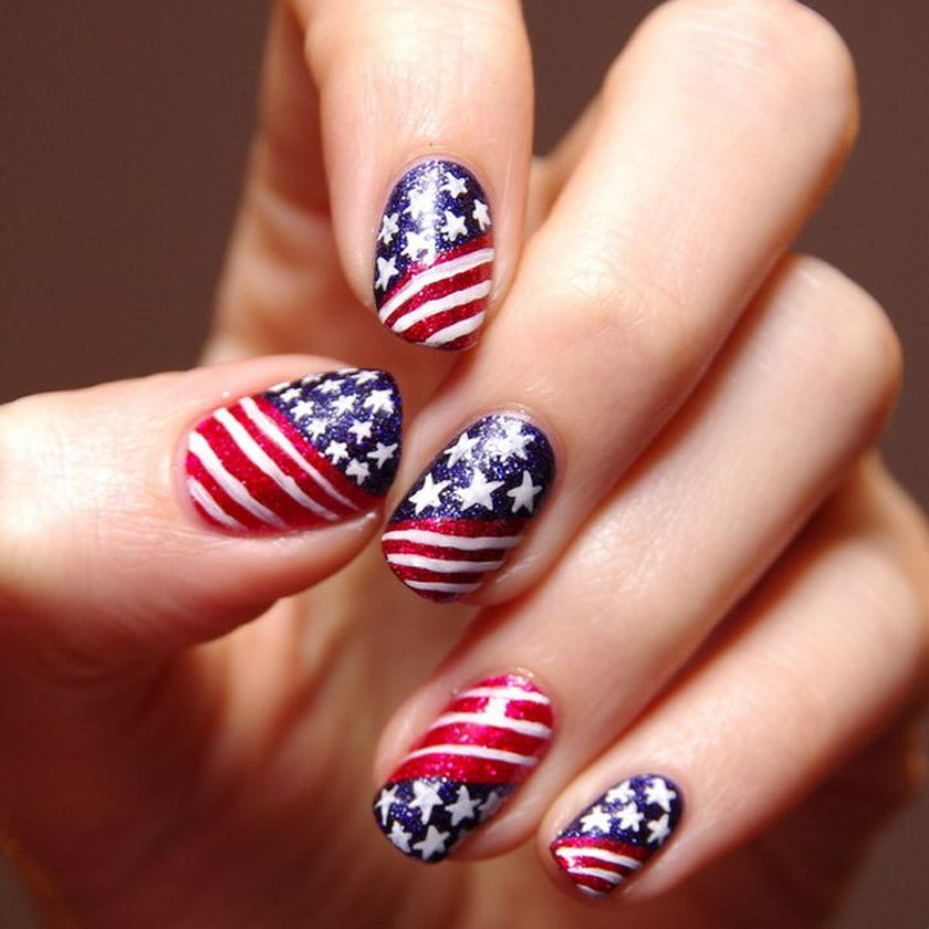 Awesome american flag nail art 1