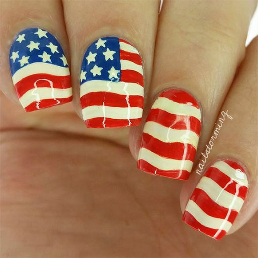Awesome american flag nail art 3