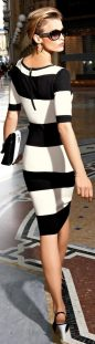 Casual black white striped midi dress outfit 12