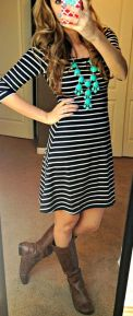 Casual black white striped midi dress outfit 30