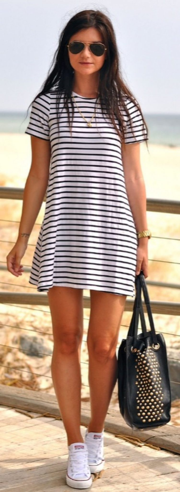 Casual black white striped midi dress outfit 4