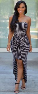 Casual black white striped midi dress outfit 58