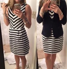 Casual black white striped midi dress outfit 67