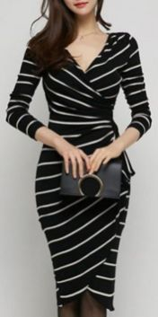Casual black white striped midi dress outfit 7