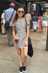 Casual black white striped midi dress outfit 8