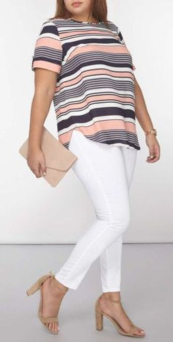 Fabulous plus size striped shirt outfits 11