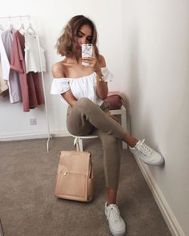 How to wear white sneaker for spring outfits 158