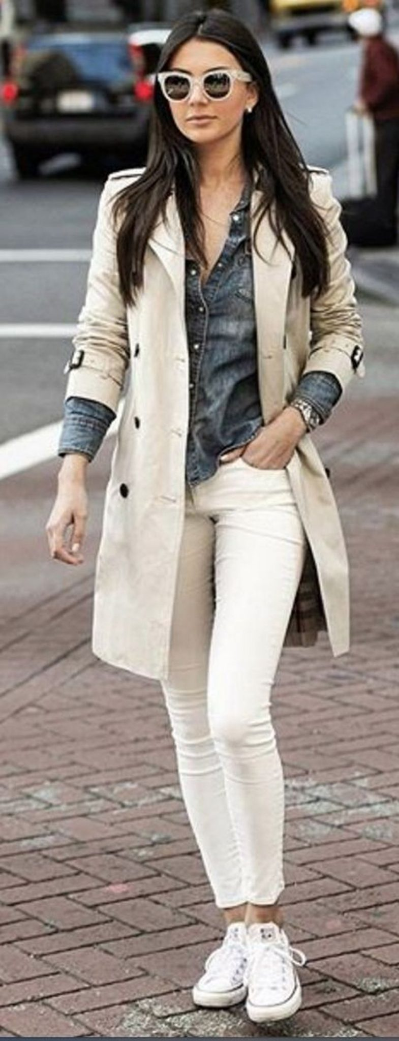 How to wear white sneaker for spring outfits 44
