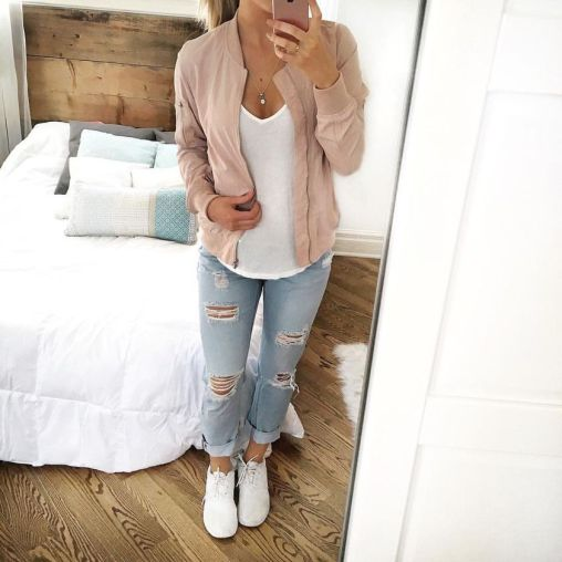 How to wear white sneaker for spring outfits 51