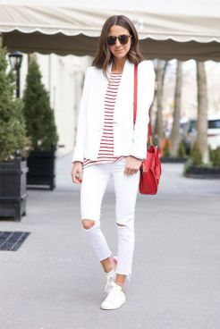 How to wear white sneaker for spring outfits 56