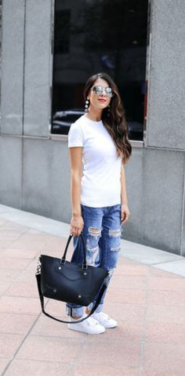 How to wear white sneaker for spring outfits 78