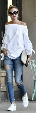 How to wear white sneaker for spring outfits 85