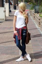 How to wear white sneaker for spring outfits 89