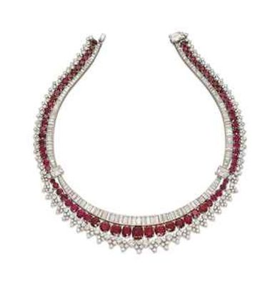 Magnificent burmese ruby and diamond necklace 12