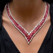Magnificent burmese ruby and diamond necklace 16