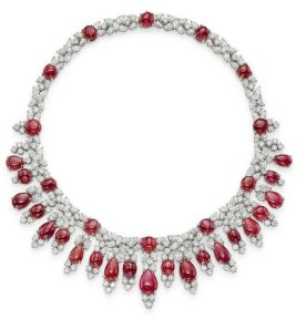 Magnificent burmese ruby and diamond necklace 18