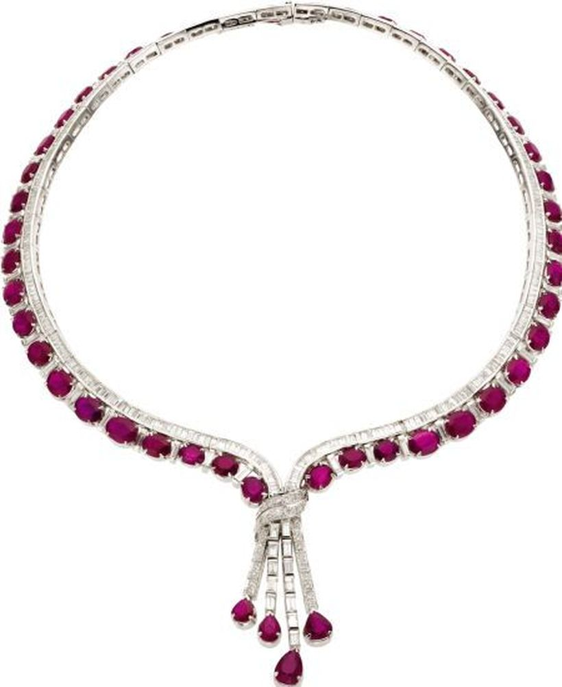 Magnificent burmese ruby and diamond necklace 24