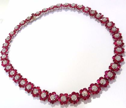 Magnificent burmese ruby and diamond necklace 25