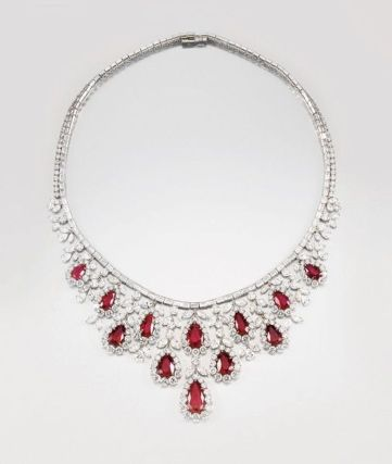 Magnificent burmese ruby and diamond necklace 4