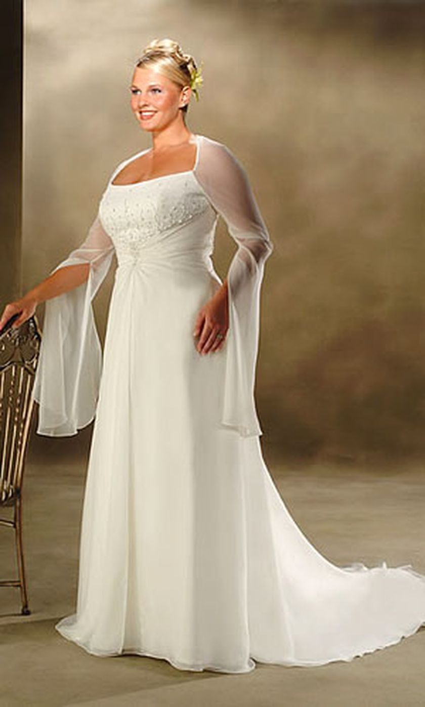Plus size wedding dresses with sleeves 18