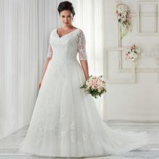 Plus size wedding dresses with sleeves 32