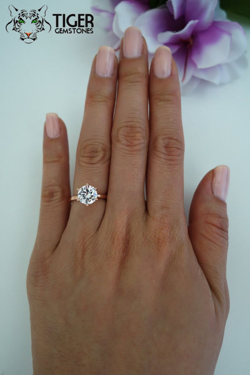Rose gold solitaire ring for wedding 16