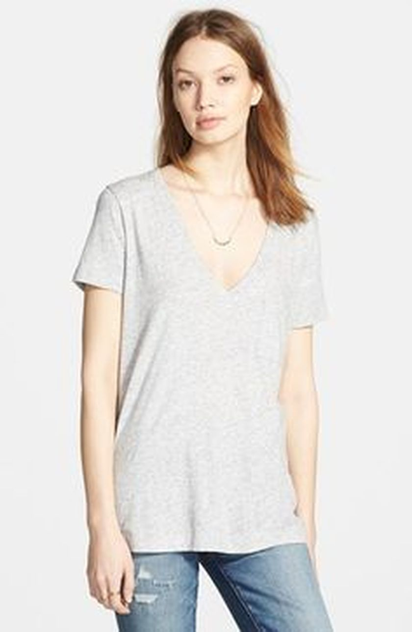 Sexy soft v neck tees women outfit style 33