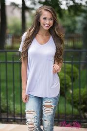 Sexy soft v neck tees women outfit style 37
