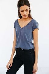 Sexy soft v neck tees women outfit style 46