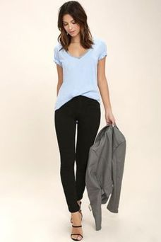 Sexy soft v neck tees women outfit style 57