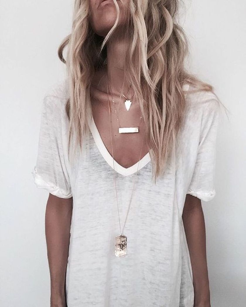 Sexy soft v neck tees women outfit style 8