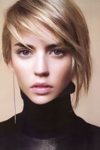 Short asymmetrical bobs hairstyle haircut 16