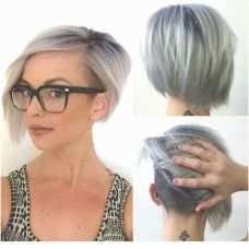 Short asymmetrical bobs hairstyle haircut 23