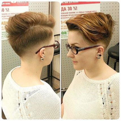 Short hair pixie cut hairstyle with glasses ideas 75