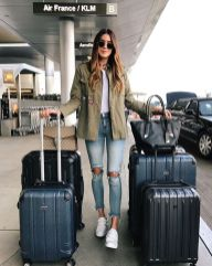 Summer airplane outfits travel style 68
