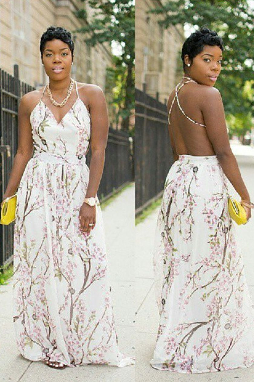 Summer casual backless dresses outfit style 63