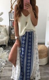 Summers casual maxi skirts ideas 45