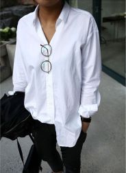 Awesome oversized white shirt outfit style ideas 2
