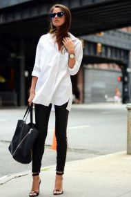 Awesome oversized white shirt outfit style ideas 20