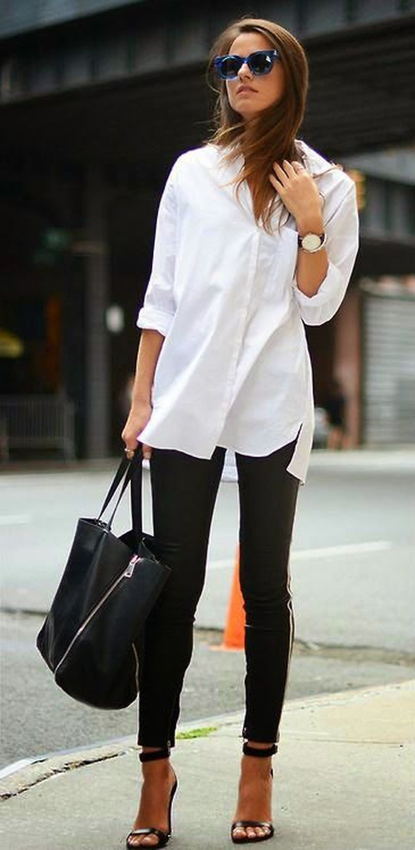 Awesome oversized white shirt outfit style ideas 26