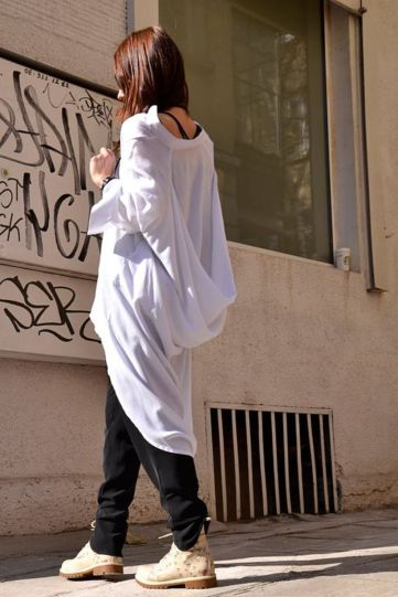 Awesome oversized white shirt outfit style ideas 7