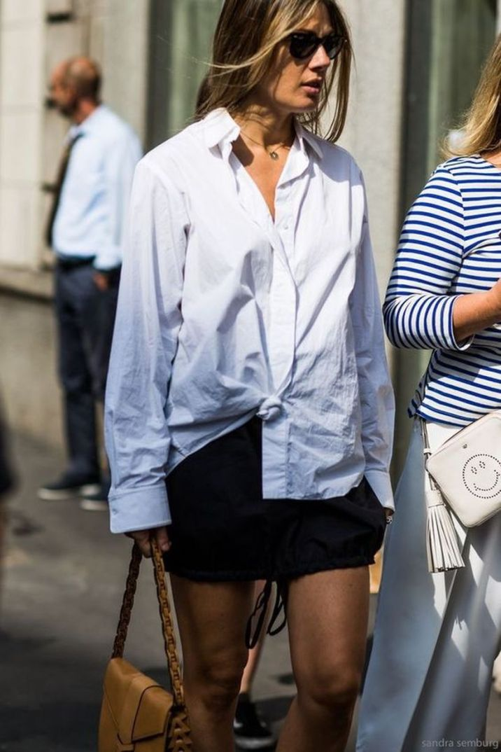 Awesome oversized white shirt outfit style ideas 9