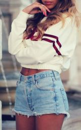 Best high waisted short denim outfits style 16
