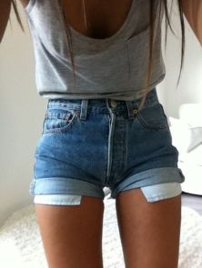 Best high waisted short denim outfits style 37