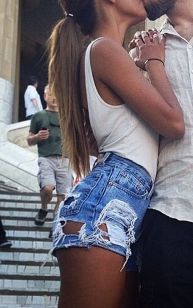 Best high waisted short denim outfits style 51