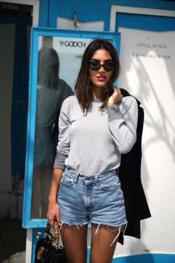 Best high waisted short denim outfits style 58