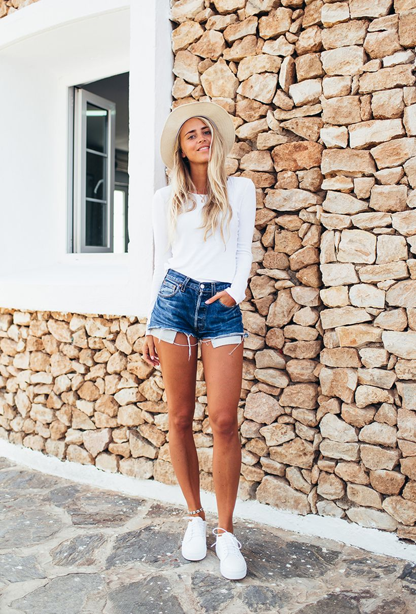 Best high waisted short denim outfits style 59