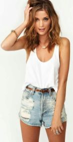 Best high waisted short denim outfits style 61