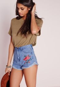 Best high waisted short denim outfits style 62